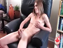 Casey Lay Stroking Canadian Shemale Cock