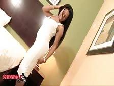 Skylar White Sexy White Dress Black Shemale