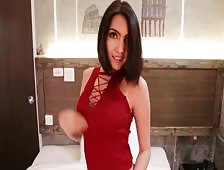 Cute Shorts Red Top Horny Ladyboy