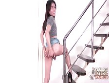 Short Skirt Ladyboy Missing Her Panties