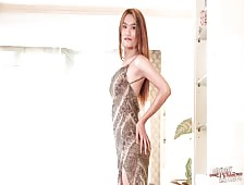 Stunning Bangkok Ladyboy Bella Strokes Cock